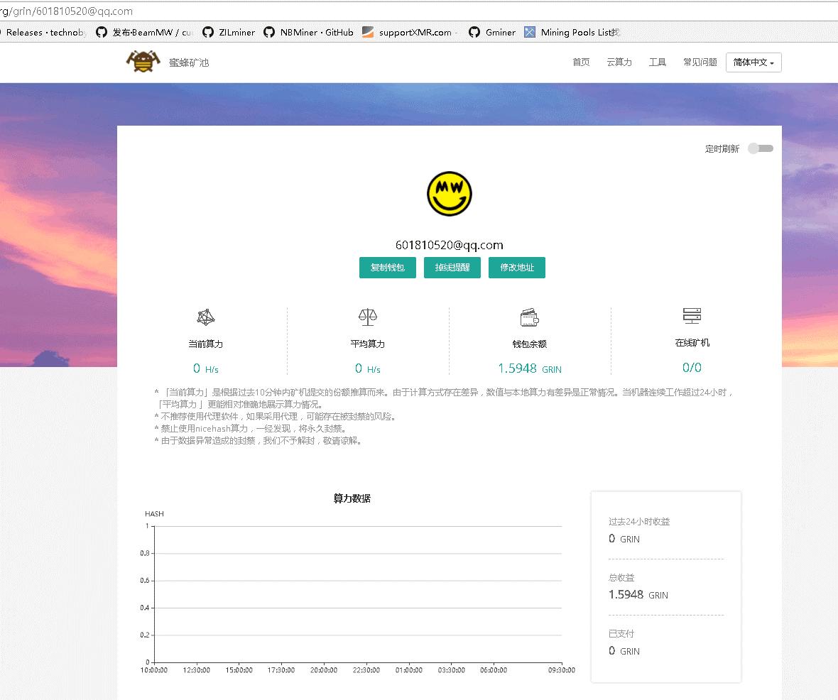 """019.4.17日中国矿工总工会GRIN各池收益测试结果"""""""